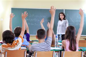 children raising hands in class